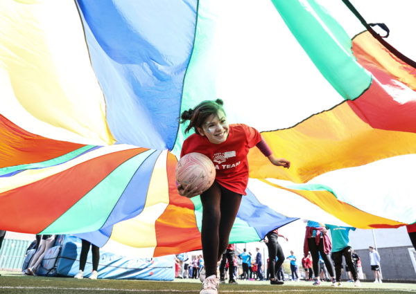 Pupils at the Regis School in Bognor Regis take the Soccer Aid for Unicef Playground Challenge. Photo: Unicef/Dawe
